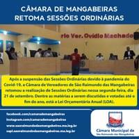 Câmara de São Raimundo das Mangabeiras retoma Sessões Ordinárias