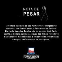 Nota de Pesar - Maria de Lourdes Coelho