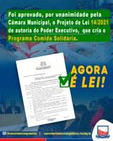 Programa Comida Solidária, aprovado pela Câmara Municipal, agora é Lei