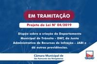 Projeto de Lei que cria o Departamento Municipal de Trânsito está em tramitação na Câmara de Vereadores
